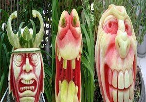 فیلم/ مجسمه سازی با هندوانه