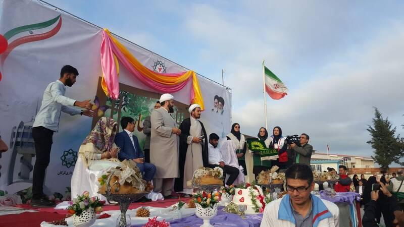 مراسم جشن عقدجوانان شیعه و سنی در منطقه سیل زده