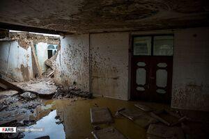 زیر آب رفتن یک روستا بر اثر سیل خوزستان