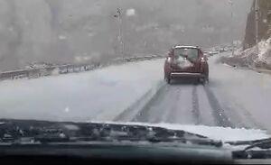 فیلم/ بارش برف و تگرگ در هراز