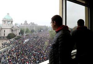 عکس/ تظاهرات گسترده ضددولتی درصربستان