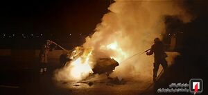 خودروی سواری در محاصره آتش سوخت