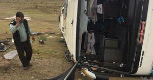 واژگونی اتوبوس در جاده گرمسار-تهران