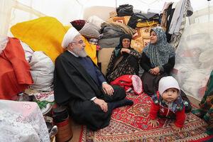 بازدید دکتر روحانی از روستای سیل زده شوره در استان ایلام