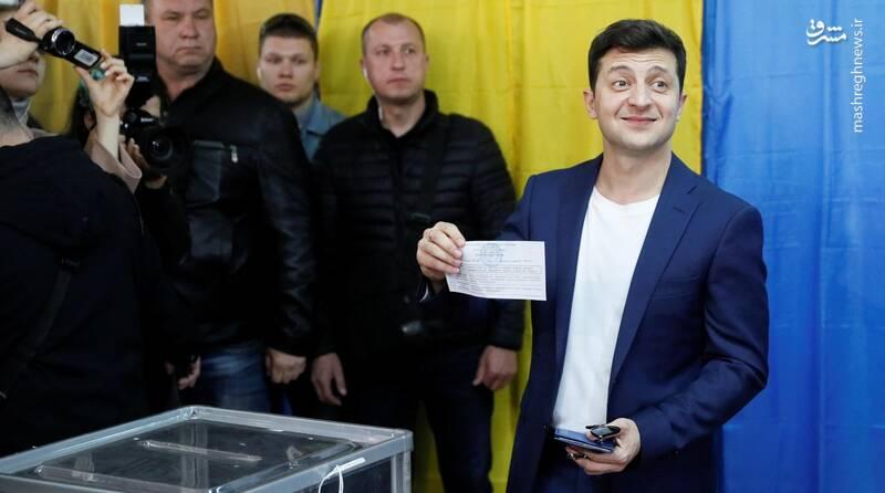 عکس/ پیروزی زلنسکی در انتخابات اوکراین