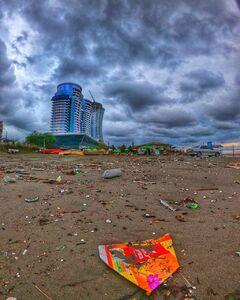 عکس/ ساحل کثیف دریای خزر