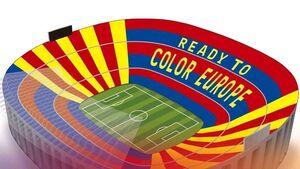 عکس/ طرح موزاییکی باشگاه بارسلونا برای بازی با لیورپول