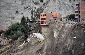 فیلم/ لحظه تخریب خانهها براثر رانش زمین در بولیوی