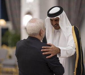 خوش و بش گرم ظریف با امیر قطر