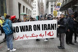 نه به جنگ با ایران در تظاهرات کارگران آمریکایی