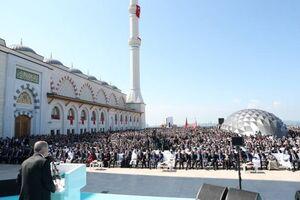 عکس/ افتتاح بزرگترین مسجد ترکیه با حضور اردوغان