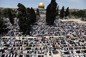 عکس/ اولین نماز جمعه ماه رمضان در مسجد الاقصی