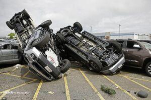 فیلم/ بلایی که طوفان بر سر خودروهای آمریکایی آورد