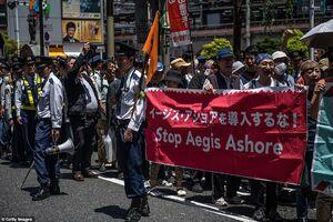 تظاهرات ژاپنیها در اعتراض به ورود ترامپ