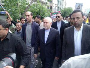 عکس/ حضور ظریف در راهپیمایی روز قدس