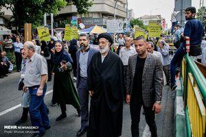 عکس/ سید هادی خامنهای در راهپیمایی قدس