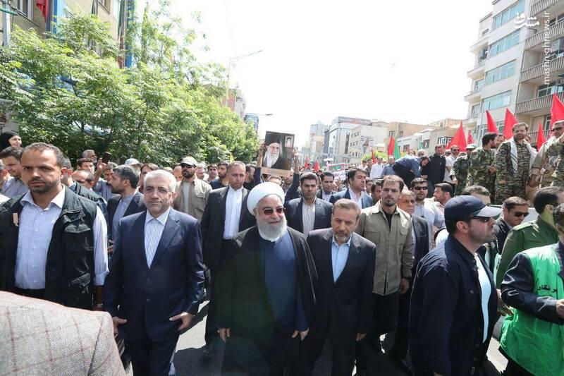 حضور دکتر روحانی در راهپیمایی روز قدس