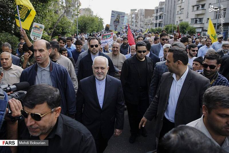 حضور محمدجواد ظریف در راهپیمایی روز قدس