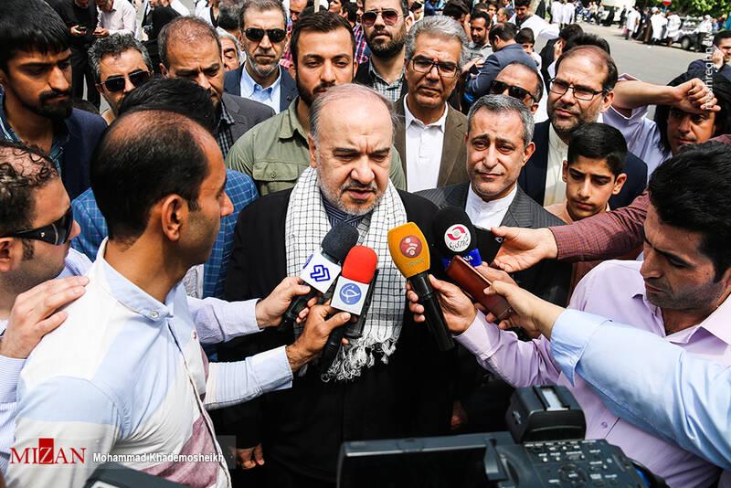 حضور مسعود سلطانی فر در راهپیمایی روز قدس