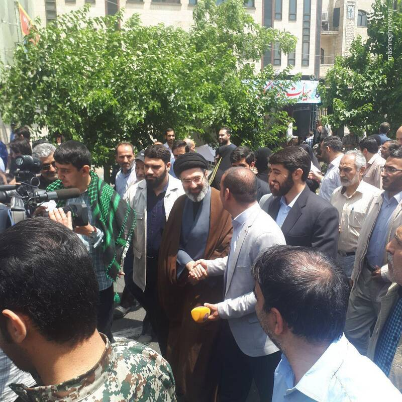حضور حجت الاسلام مجتبی خامنه ای در راهپیمایی روز قدس