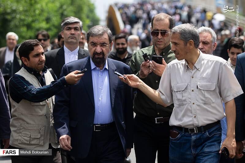 حضور محسن رضایی در راهپیمایی روز قدس