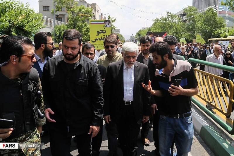 حضور محمدرضا عارف در راهپیمایی روز قدس