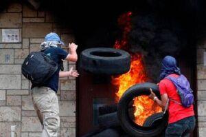 فیلم/ به آتش کشیدن شدن سفارت آمریکا در هندوراس