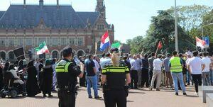 راهپیمایی روز قدس در مقابل دادگاه بینالمللی لاهه