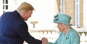 نحوه دست دادن ترامپ با ملکه انگلیس جنجالی شد+ عکس