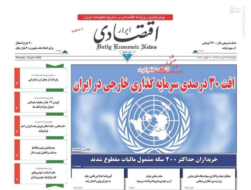 ابرار اقتصادی: افت ۳۰ درصدی سرمایه گذاری خارجی در ایران