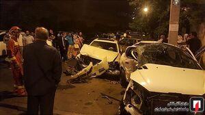عکس/ برخورد شدید دو خودرو  با یکدیگر درتهران