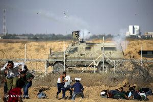 عکس/ حمله صهیونیستها به راهپیمایی غزه