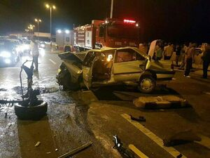 عکس/ حریق مرگبار خودرو پس از تصادف