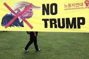تظاهرات گسترده علیه ورود ترامپ به «سئول»