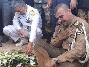 فیلم/ اشکهای امیر ارتش سر مزار شهید گمنام