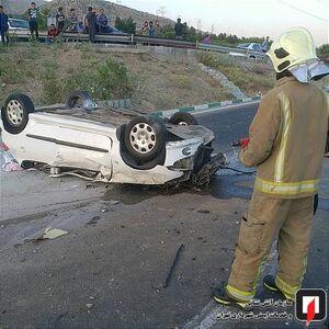 عکس/ واژگونی مرگبار پژو ۲۰۶ در تصادف با تیبا