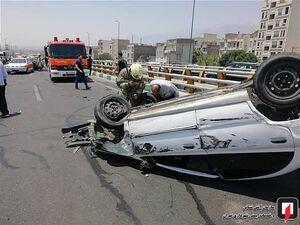 عکس/ برخورد مرگبار موتورسیکلت و چهار خودرو با یکدیگر