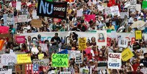 تظاهرات گسترده علیه سیاستهای مهاجرتی ترامپ در شهرهای مختلف آمریکا
