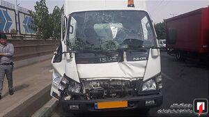 عکس/ تصادف خونین دو کامیون در بزرگراه فتح