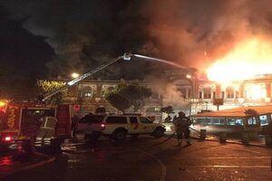 آتشسوزی یک انبار در میدان حسن آباد تهران