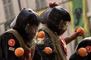 عکس/ «جنگ پرتقال» در ایتالیا