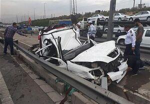 مرگ راننده جوان در اتاقک له شده تیبا +عکس