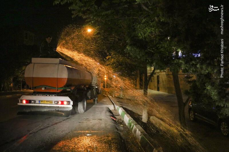 آبیاری غیر اصولی درختان در شب