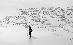 عکس/ نقاشیهای دیدنی روی شنهای ساحل