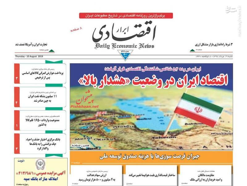 ابرار اقتصادی: اقتصاد ایران در وضعیت «هشدار بالا»