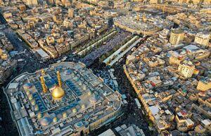 تصویر هوایی از نماز عید قربان در بین الحرمین