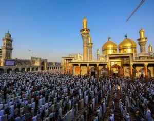 تصویر زیبا از اقامه نماز عید قربان در کاظمین