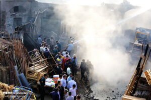عکس/ آتش سوزی در بازار کهنه قم