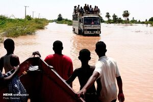 سیل در حاشیه رود نیل در سودان