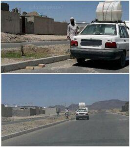یک معلم از شهرستان سوران در استان سیستان وبلوچستان با نصب مخزن بر روی ماشین شخصی خود و با هزینه شخصی، همه روزه به آبیاری درختان و بوتههای بلوارهای سطح شهر میپردازد.